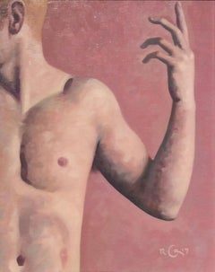 Anatomy Study 1 (Modern Figurative Oil Painting Detail of Nude Male, Framed)