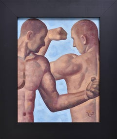 Anatomy Study 34 (Small Figurative Painting of Two Nude Male Models on Blue)