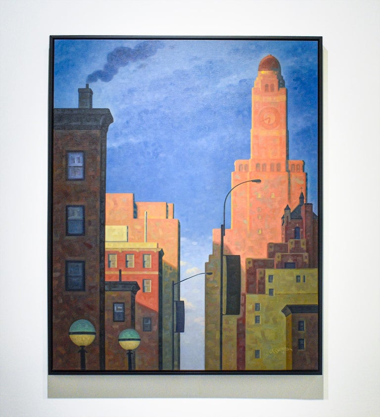 Great Hanson, Rose Dawn (Oil of Brooklyn, NY Williamsburgh Savings Bank Tower) - Painting by Robert Goldstrom