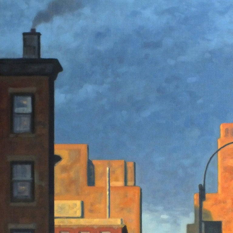 Robert Goldstrom Great Hanson, Rose Dawn, 2019 Savings Bank Tower Skyline in Brooklyn, NY Cultural District Painted by Robert Goldstrom in 2019, 50