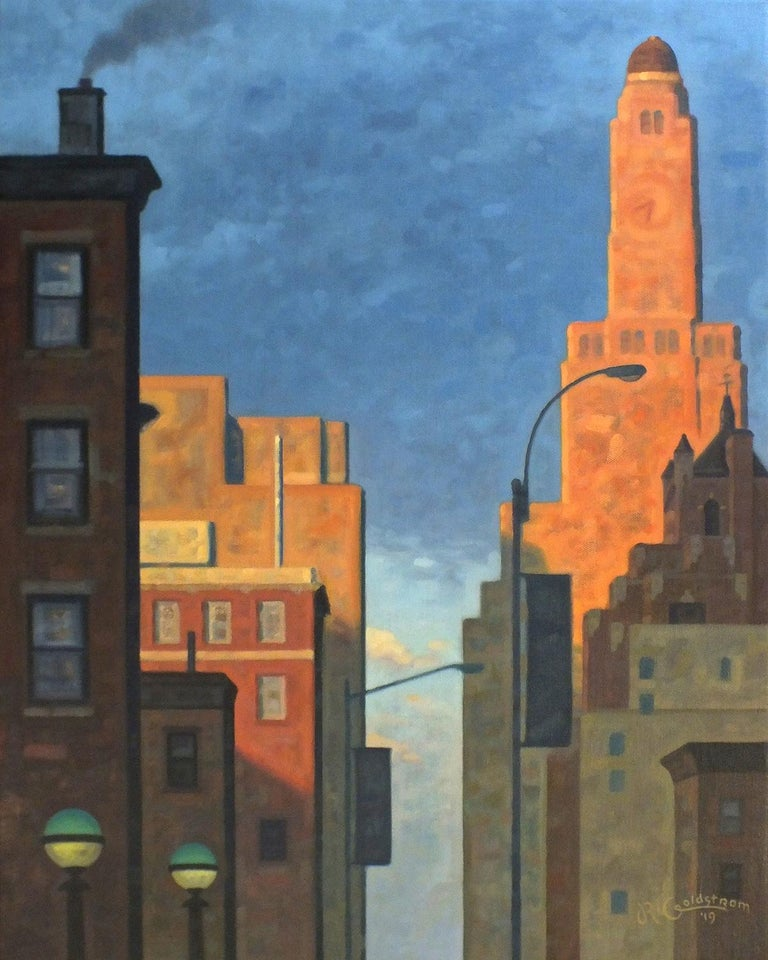 Robert Goldstrom Landscape Painting - Great Hanson, Rose Dawn (Oil of Brooklyn, NY Williamsburgh Savings Bank Tower)