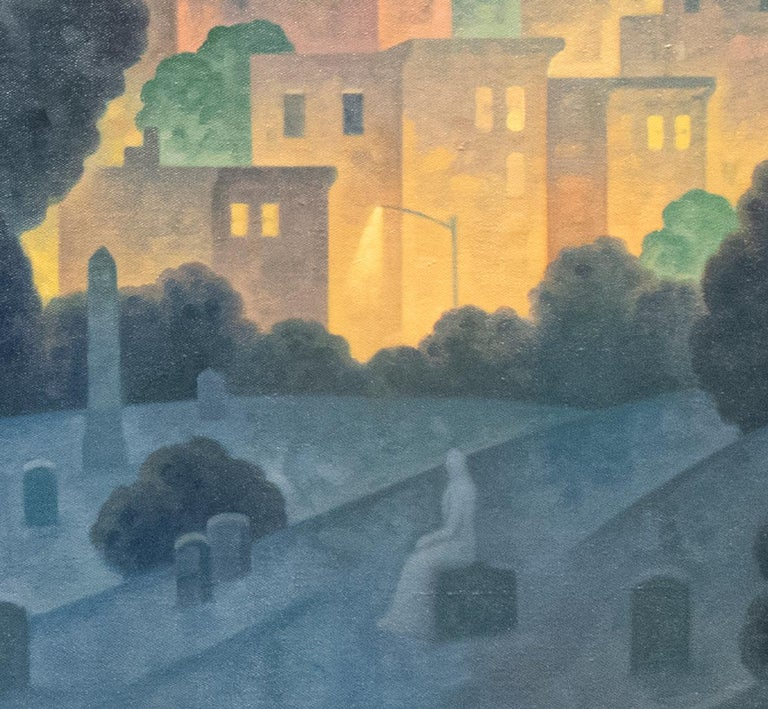 Green Wood, Night Panorama (Oil Painting of Brooklyn Cemetery, NYC Skyline) For Sale 6