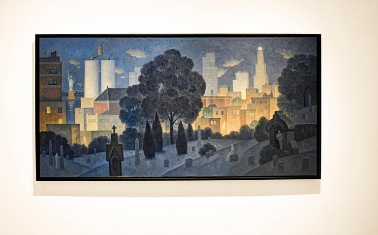 Green Wood, Night Panorama (Oil Painting of Brooklyn Cemetery, NYC Skyline) - Black Still-Life Painting by Robert Goldstrom