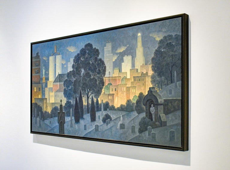 Iconic cityscape oil painting on canvas of Brooklyn's Green Wood Cemetery and Manhattan Skyline and Statue of Liberty painted on the horizon Painted by Robert Goldstrom in 2019 36 x 72 inches, Oil on linen 38 x 74 x 2 inches framed (black wood
