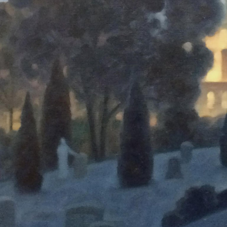 Green Wood, Night Panorama (Oil Painting of Brooklyn Cemetery, NYC Skyline) For Sale 1