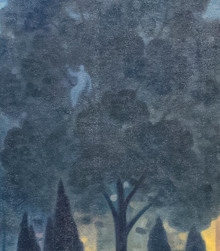 Green Wood, Night Panorama (Oil Painting of Brooklyn Cemetery, NYC Skyline) For Sale 3