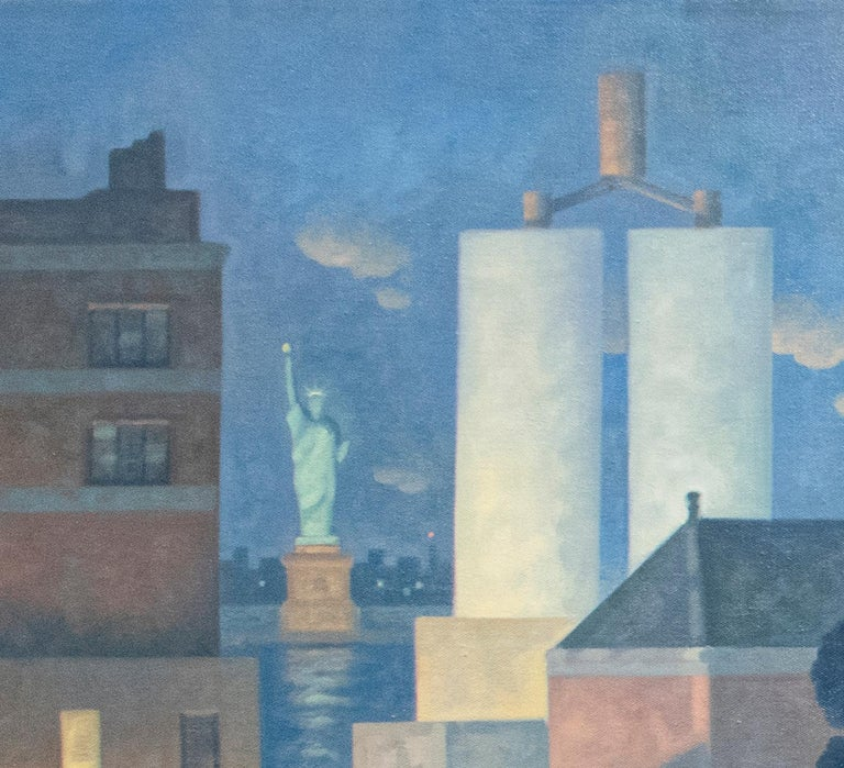 Green Wood, Night Panorama (Oil Painting of Brooklyn Cemetery, NYC Skyline) For Sale 4
