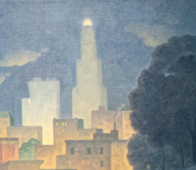 Green Wood, Night Panorama (Oil Painting of Brooklyn Cemetery, NYC Skyline) For Sale 5