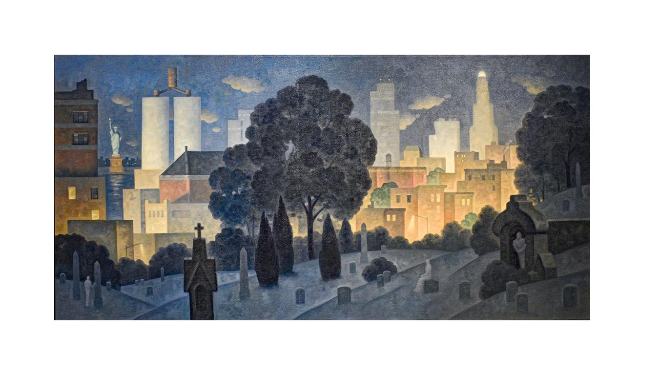 Green Wood, Night Panorama (Oil Painting of Brooklyn Cemetery, NYC Skyline)