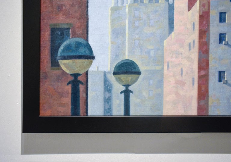 Cityscape painting of Brooklyn with view of the Williamsburg Savings Bank, in the style of Edward Hooper Oil on linen 30 x 24 inches unframed, 33 x 27 inches in black frame with wire backing  Signed, lower right  This charmingly view of a familiar