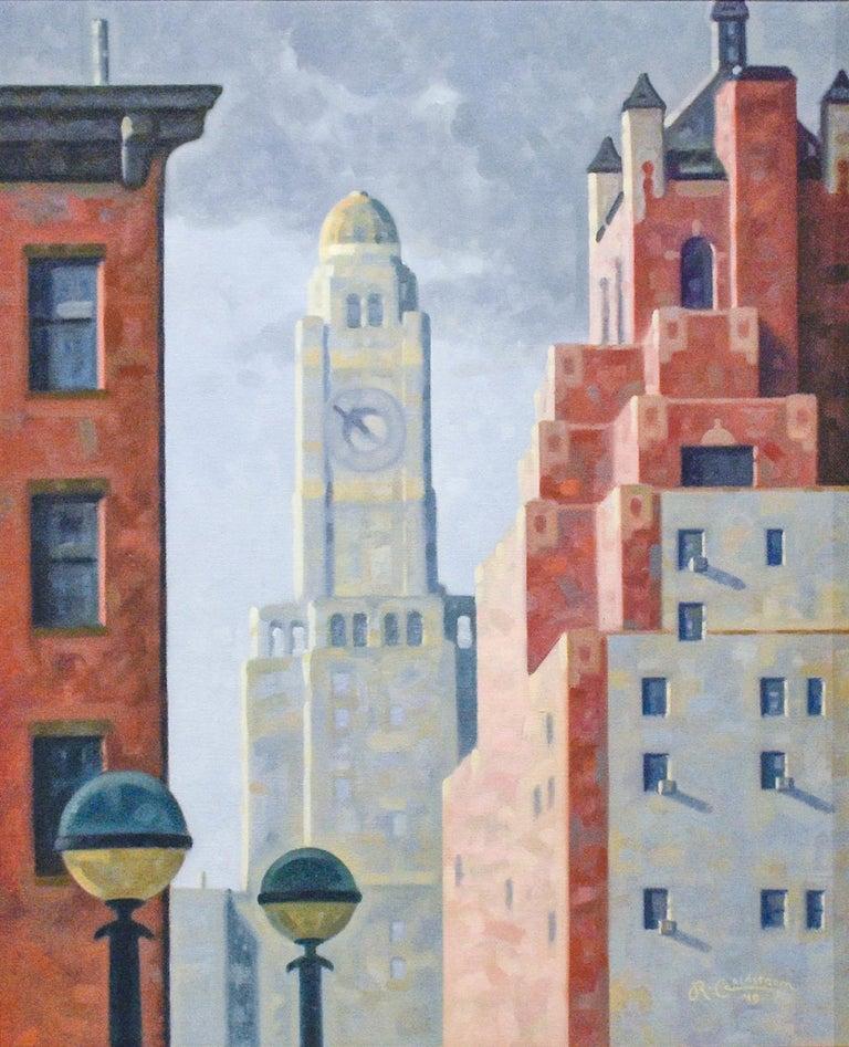 Robert Goldstrom Still-Life Painting - Hanson Place, 10:50 (Edward Hopper Style Cityscape Oil Painting of Brooklyn, NY)