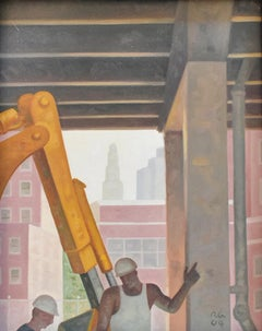 Road Work (Framed Cityscape Oil Painting of Manhattan Construction Workers)