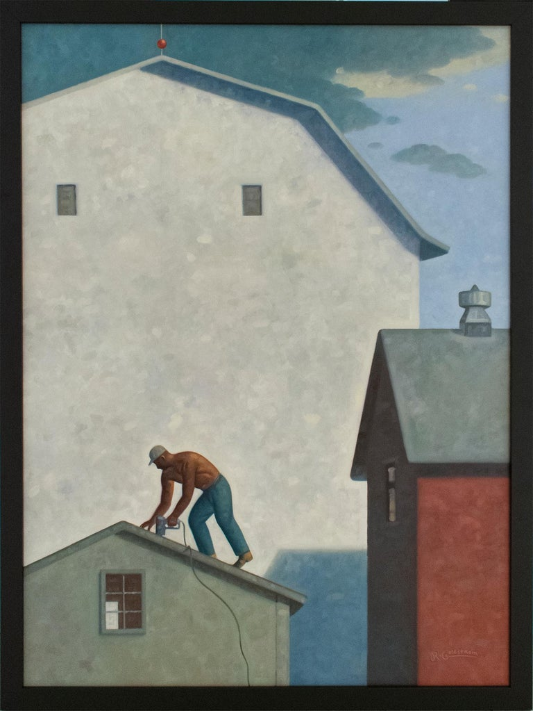 Roofer (Contemporary Architectural Painting, Oil on Linen, Framed) - Gray Landscape Painting by Robert Goldstrom
