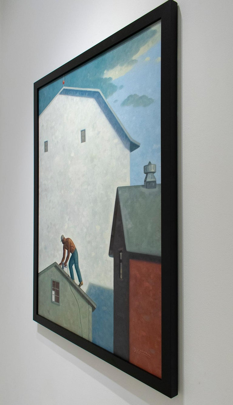 Roofer by Robert Goldstrom 48 x 36 inches, oil on linen black frame with wire backing Framed dimensions are 51 x 39 x 1.5 inches Signed, lower right  This original, contemporary oil painting by Robert Goldstrom is a charming architectural view