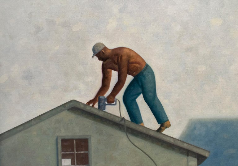 Roofer (Contemporary Architectural Painting, Oil on Linen, Framed) For Sale 1