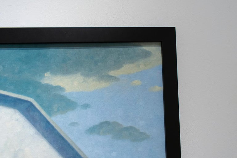 Roofer (Contemporary Architectural Painting, Oil on Linen, Framed) For Sale 3