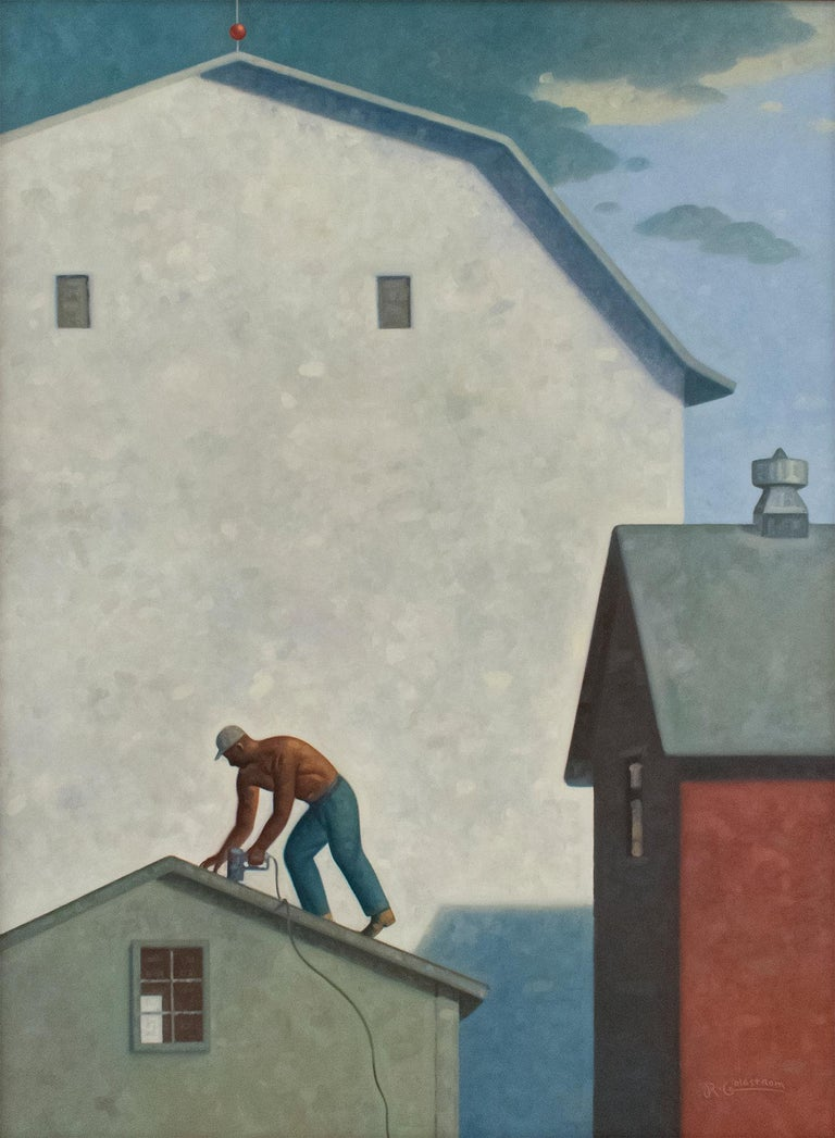 Robert Goldstrom Landscape Painting - Roofer (Contemporary Architectural Painting, Oil on Linen, Framed)