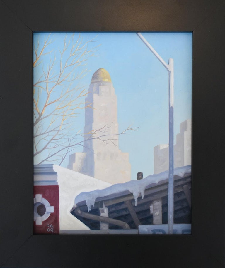 Snow Shed: Framed Cityscape Oil Painting on Panel of Brooklyn New York in Winter - Blue Still-Life Painting by Robert Goldstrom