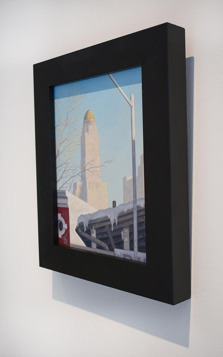 Small and graphic, cityscape painting on panel of Brooklyn, New York skyline with the Williamsburg Savings Bank building in the background against a pale blue winter sky Painted in 2009 Oil on panel 10 x 8 inches unframed, 12.5 x 10.5 inches in