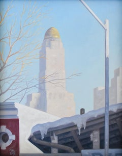 Snow Shed: Framed Cityscape Oil Painting on Panel of Brooklyn New York in Winter