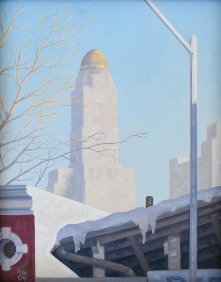 Robert Goldstrom Still-Life Painting - Snow Shed: Framed Cityscape Oil Painting on Panel of Brooklyn New York in Winter