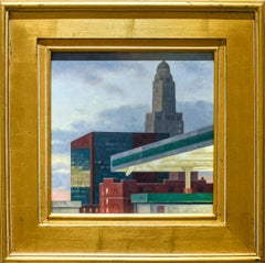 Williamsburg Savings Bank (Cityscape Painting of Brooklyn, NY Skyline, Framed)