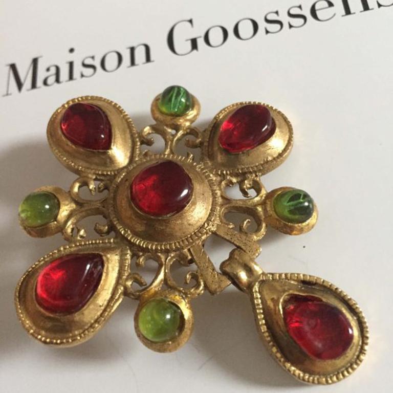 Vintage Maison Goossens Paris Pâte de Verre Byzantine Inspired Brooch 1970s In Good Condition For Sale In Wilmslow, GB