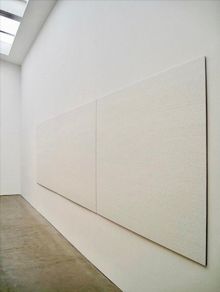 Oil on aluminum panel abstract painting. Minimalism, white painting. Two 60