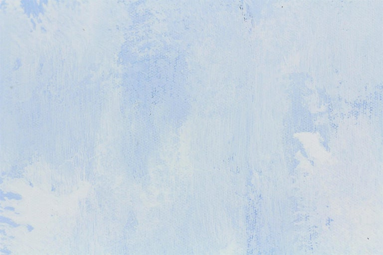 An abstract expressionist acrylic painting on canvas with wonderful color combinations of soft, whites, periwinkle blues and effortless lines and shapes. This piece is layer with paint and texture, and has a soft yet dramatic touch . A beautiful