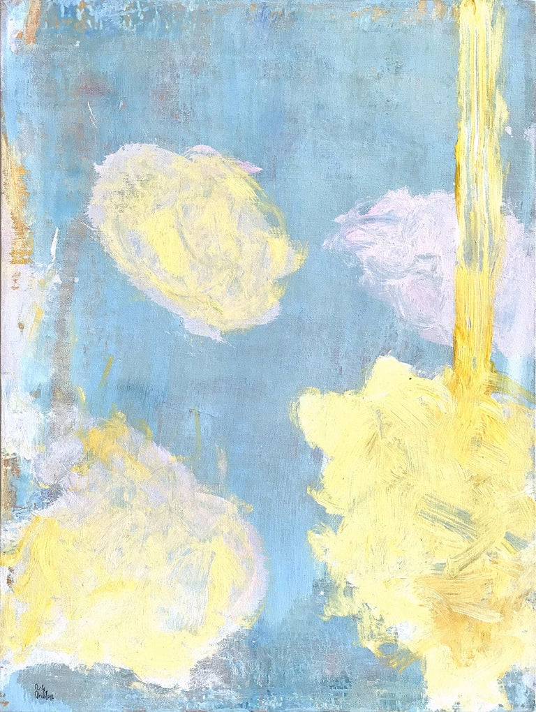 Robert Gregory Phillips Abstract Painting - Advent in Yellow, Pink and Blue