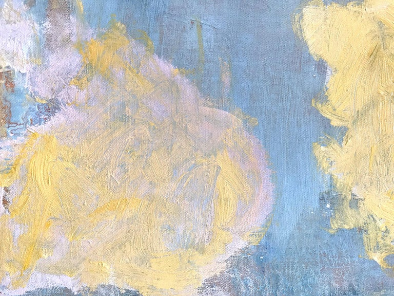 Advent in Yellow, Pink and Blue - Gray Abstract Painting by Robert Gregory Phillips