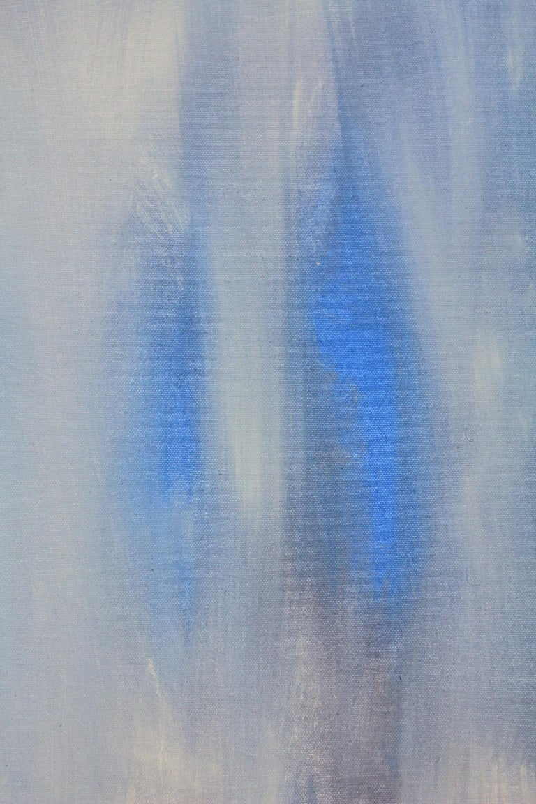 An abstract expressionist acrylic painting on canvas with wonderful color combinations of soft, whites, blues and effortless lines and shapes. This piece is layer with paint and texture, and has a soft yet dramatic touch . A beautiful large, elegant
