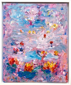 """""""Botanical Garden 1"""" Contemporary Acrylic Painting in the style of Claude Monet"""