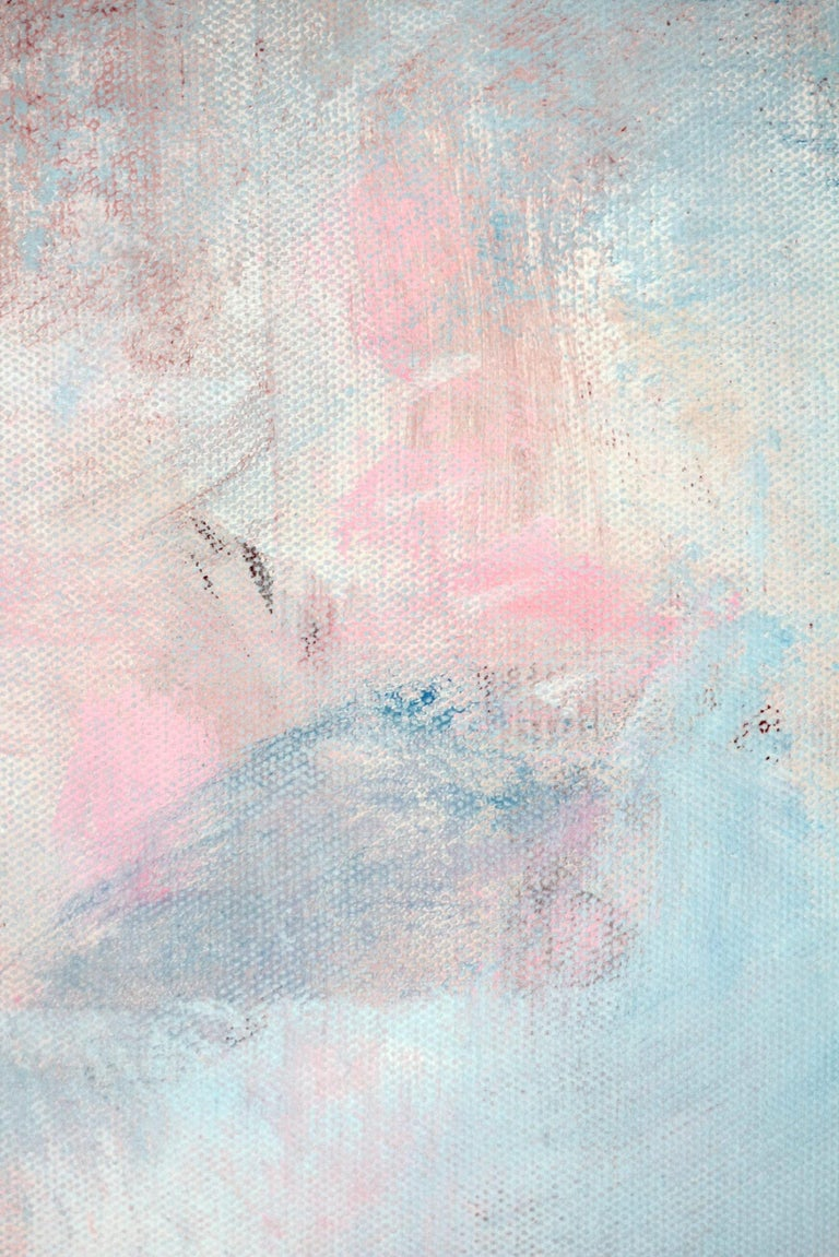 An abstract expressionist acrylic painting on canvas with wonderful color combinations of soft, pinks, yellow and effortless lines and shapes. This piece is layer with paint and texture, and has a soft yet dramatic touch . A beautiful large, elegant