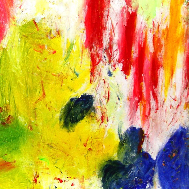 An abstract expressionist acrylic painting on canvas with wonderful color combinations and effortless lines and shapes. This piece is layer with paint and texture, and has a soft yet dramatic touch . A large beautiful decorative piece with movement,
