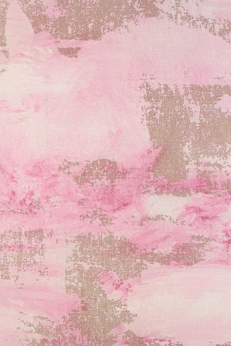 An abstract expressionist acrylic painting on canvas with wonderful color combinations of soft, pinks, red and effortless lines and shapes. This piece is layer with paint and texture, and has a soft yet dramatic touch . A beautiful, elegant and chic