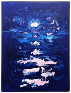 """""""Once in Blue and Pink"""" Midnight Blue Abstract Contemporary Painting on Canvas"""