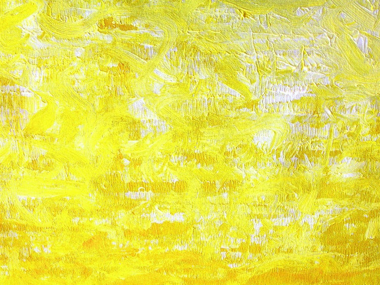 An abstract expressionist acrylic painting on canvas with wonderful color combinations and effortless lines and shapes. This piece is reminiscent of a gradiant from yellow to white. A large beautiful decorative piece with movement, and depth. Signed
