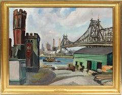 Antique American Modernist Cityscape Ashcan School Brooklyn Bridge Oil Painting