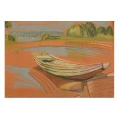 Robert Hancock, Finland, Oil Crayon on Paper, Modernist Landscape