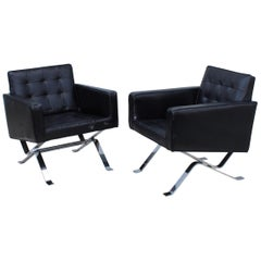 Robert Haussmann Chrome and Leather Lounge Chairs