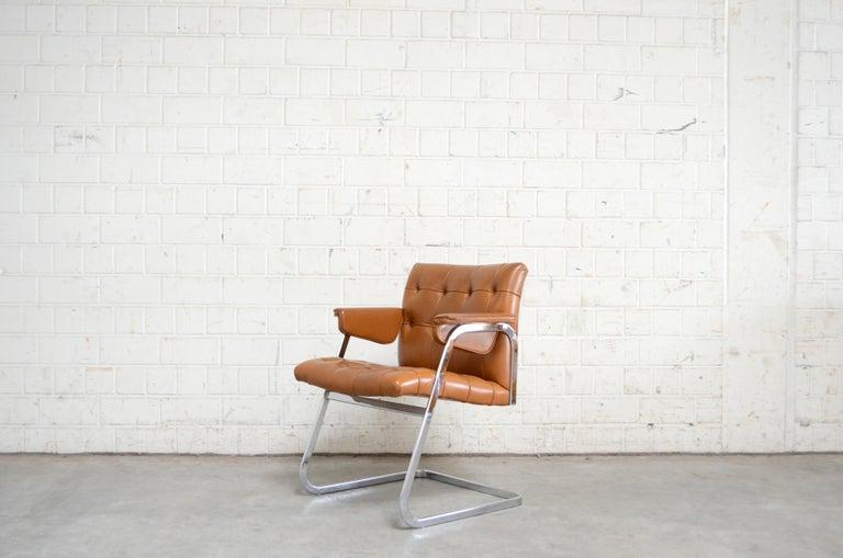 Mid-Century Modern Robert Haussmann De Sede RH 305/ 304 UNESCO Softpad Chairs Chair Cognac For Sale