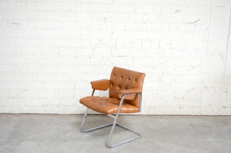 Swiss Robert Haussmann De Sede RH 305/ 304 UNESCO Softpad Chairs Chair Cognac For Sale