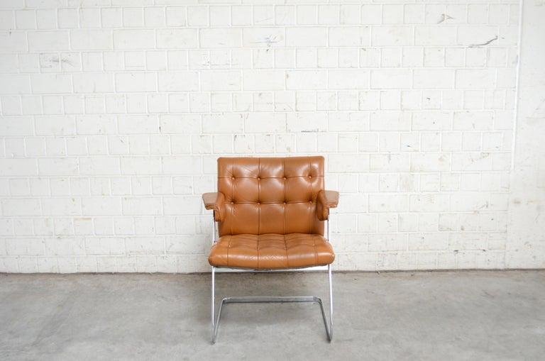 20th Century Robert Haussmann De Sede RH 305/ 304 UNESCO Softpad Chairs Chair Cognac For Sale