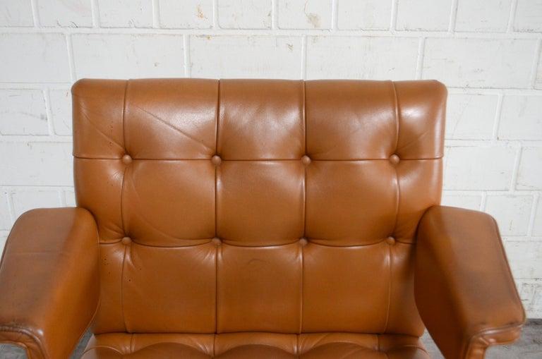 Leather Robert Haussmann De Sede RH 305/ 304 UNESCO Softpad Chairs Chair Cognac For Sale