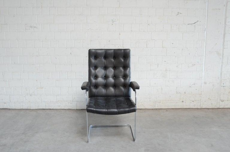 Mid-Century Modern Robert Haussmann De Sede Rh 305 High Back Chair Black For Sale