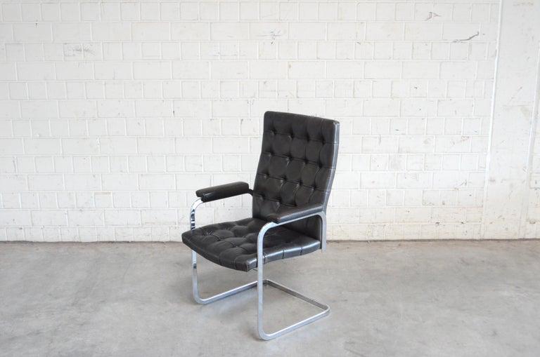 Swiss Robert Haussmann De Sede Rh 305 High Back Chair Black For Sale