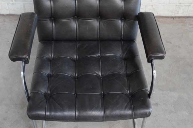 Leather Robert Haussmann De Sede Rh 305 High Back Chair Black For Sale