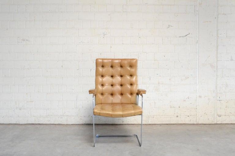 Mid-Century Modern Robert Haussmann De Sede RH 305 High Back Chair Cognac For Sale