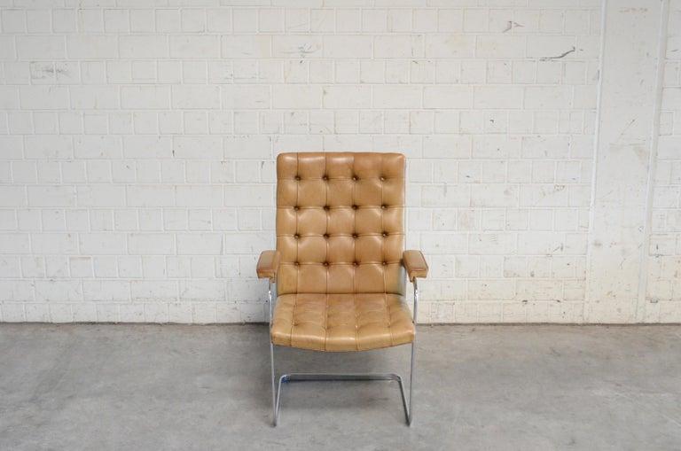 Swiss Robert Haussmann De Sede RH 305 Highback Chair Cognac For Sale